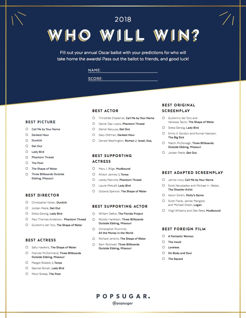 image relating to Printable Ballot titled Printable Record of Oscar Nominations 2018 POPSUGAR