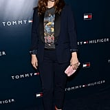 Drew Barrymore showed off her California-cool style by pairing a rock 'n' roll tee with red pumps and a navy Tommy Hilfiger blazer that matched her tapered trousers.