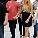 Penn Badgley, who plays Dan Humphrey, and Blake Lively, who plays Serena van der Woodsen, chatted between takes.