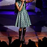 Azealia Banks performed in a printed fit-and-flare dress at Anna Dello Russo's H&M launch party.