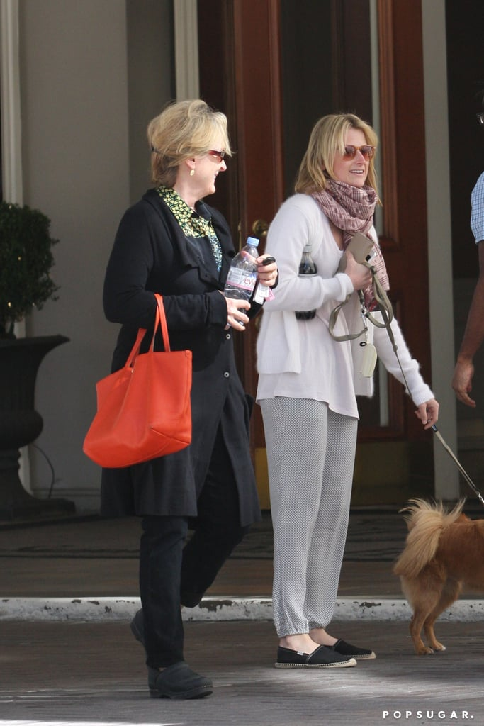 Meryl Streep and her daughter Mamie Gummer stepped out of their Vancouver hotel together yesterday. The duo spent time up north just as news of Mamie's split from her husband, Ben Walker, was announced. Mamie and Ben were married in the Summer of 2011 after meeting in 2008 while working on the Broadway play Dangerous Liaisons. Ben was recently back on stage in Cat on a Hot Tin Roof while Mamie has been focused on the small screen. Her show Emily Owens, M.D. was canceled after just one season, but she's already signed on for the CBS pilot Backstrom opposite Rainn Wilson.