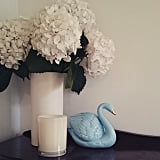 White hydrangeas in a white vase equals monochromatic chic.  Source: Instagram user eyethemagpie