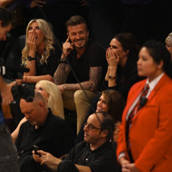 David Beckham and Victoria Beckham Kiss Cam