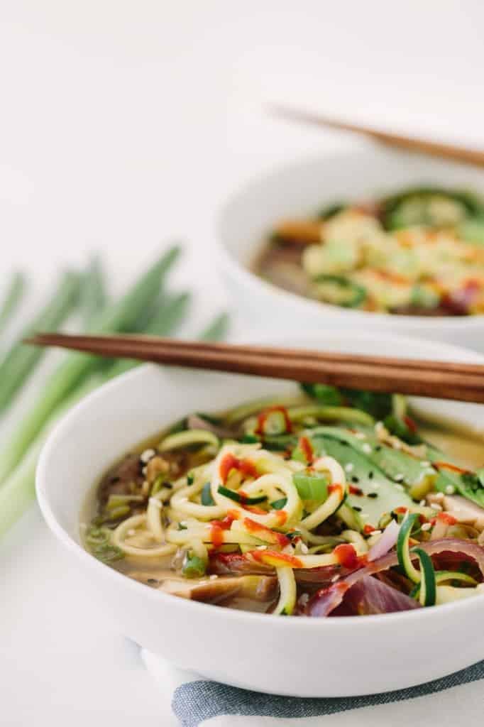 Spiralized Vegan Ramen Soup with Zucchini Noodles