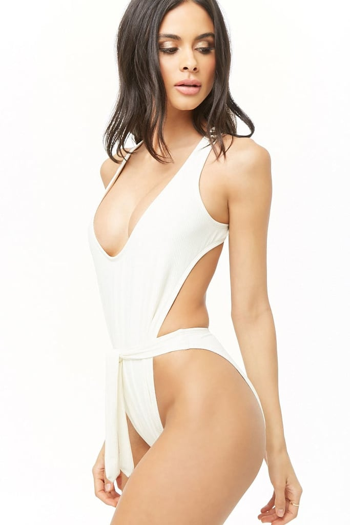 Forever 21 Ribbed Self-Tie One-Piece Swimsuit