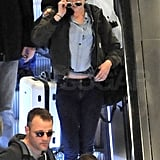Kristen Stewart took an escalator in Paris.