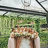 This coordinated bridal party wore all different shades of blush pink.