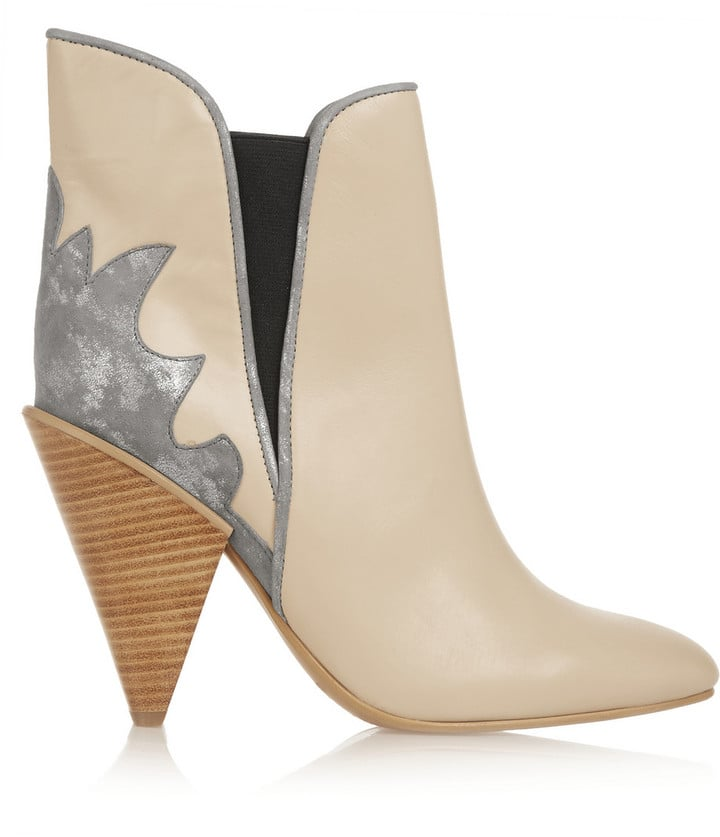 See by Chloé Metallic Suede-Paneled Leather Ankle Boots ($415)