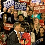 Barack gave Michelle a super kiss on Super Tuesday on March 5, 2008.