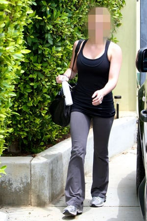 Celebrity Wearing Engagement Ring at the Gym