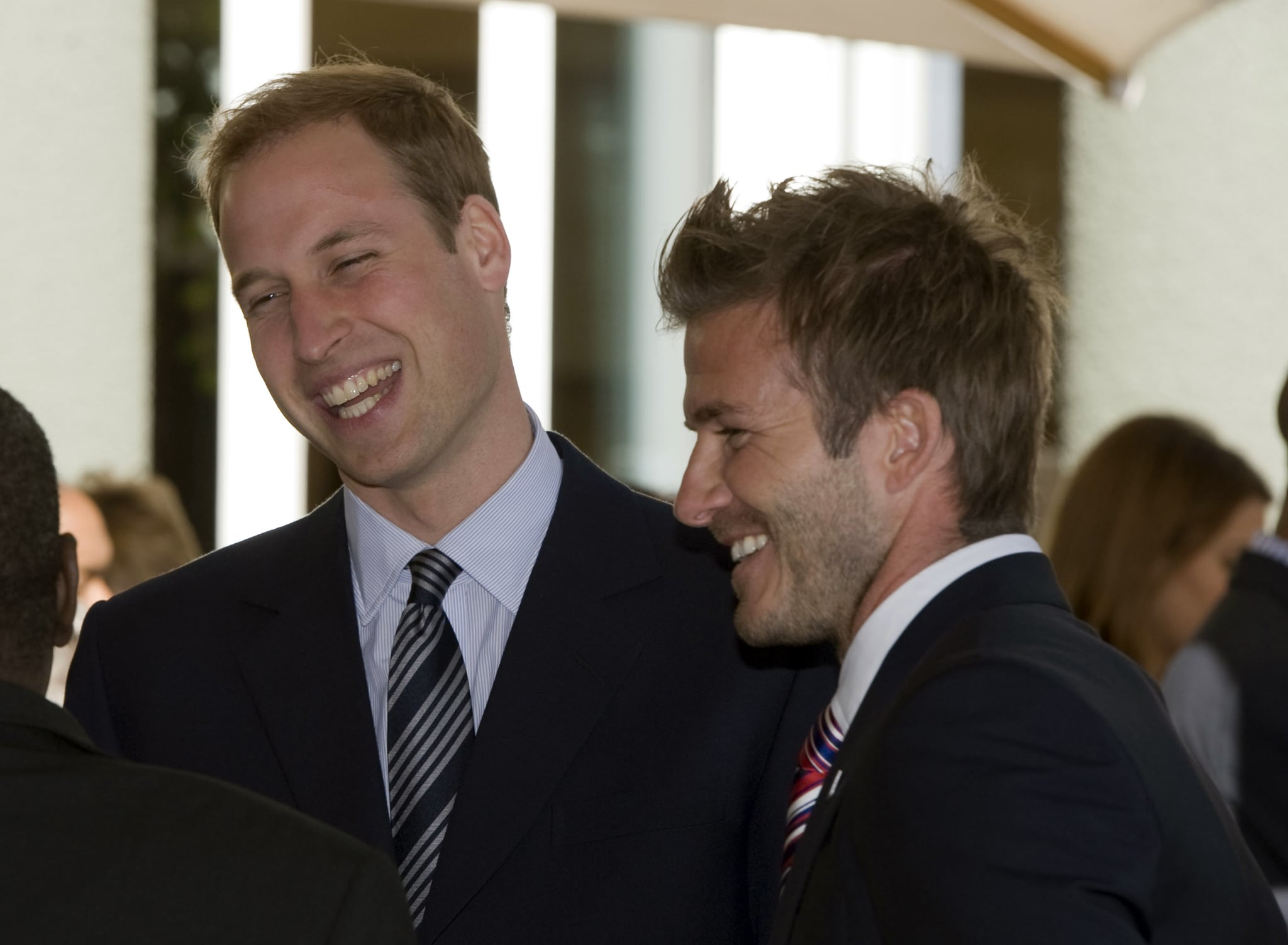 JOHANNESURG - JUNE 19: (N0 PUBLICATION IN UK MEDIA FOR 28 DAYS)   Prince William, Prince Harry and David Beckham attend a reception for FIFA officials on behalf of the English Football Association in honour of the 2010 Football FIFA World Cup on June 19, 2010 in Johannesburg, South Africa. (Photo by Samir Hussein/Wireimage)