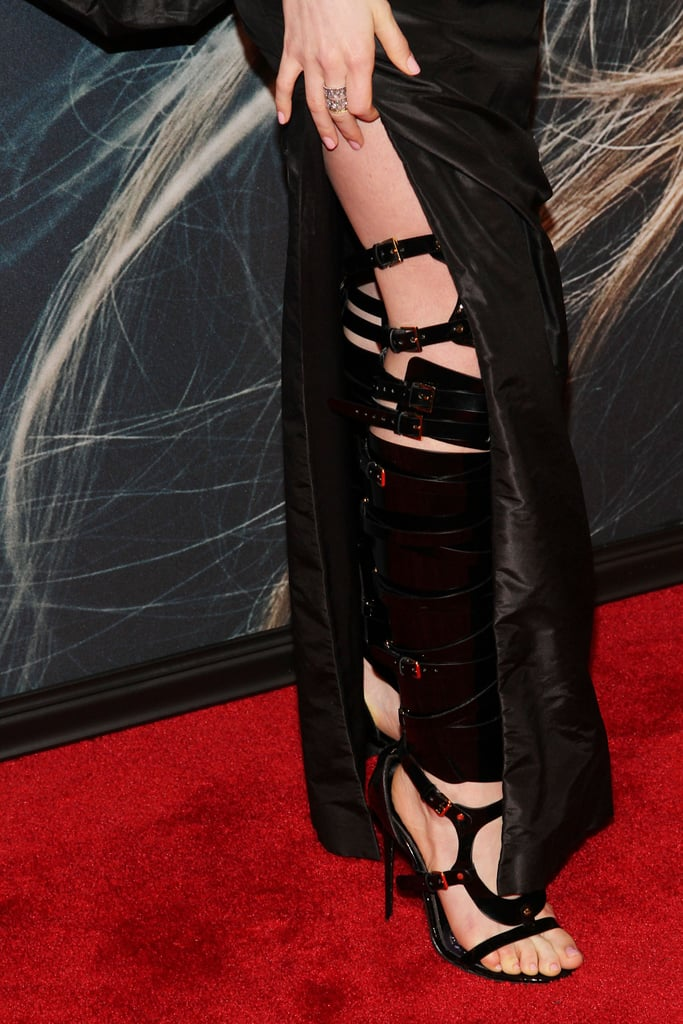 The most dramatic piece of Anne's look may just have been her strappy, buckled thigh-high heels.