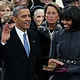 President Barack Obama was sworn in, while Michelle flashed a big smile.
