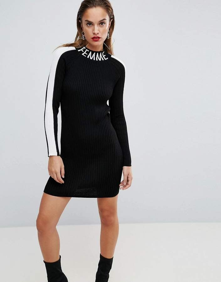 Asos Knitted Mini Dress With Sports Tipping and Logo