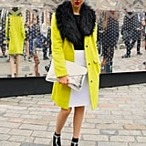 A bold neon coat added some much-needed warmth in London. Source: Hannah Freeman