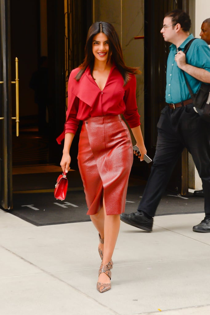 Priyanka Chopra Red Leather Skirt 2018