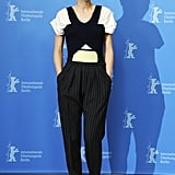 Rooney Mara's Balenciaga jumpsuit featured pinstripes, architectural lines, and cool colour-blocking at the Side Effects photocall in Berlin.