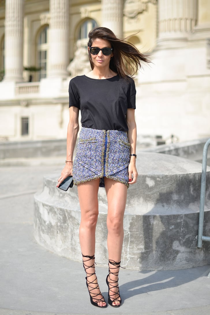 Dress Up A Simple Tee With A Chic Miniskirt And Lace Up