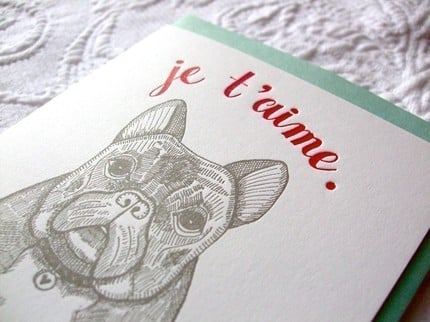 Letterpress Love and Affection / Valentine by sycamorestreetpress ($4)