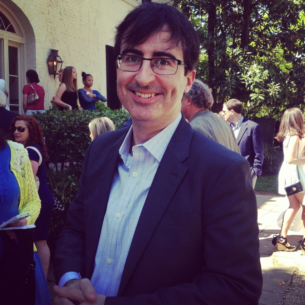 The Daily Show's John Oliver, seen here at the brunch, said he'd love to have Queen Elizabeth on as a guest when he takes over for Jon Stewart this Summer.