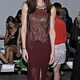 Hilary Rhoda vamped it up in an oxblood-red gown at the Helmut Lang show.