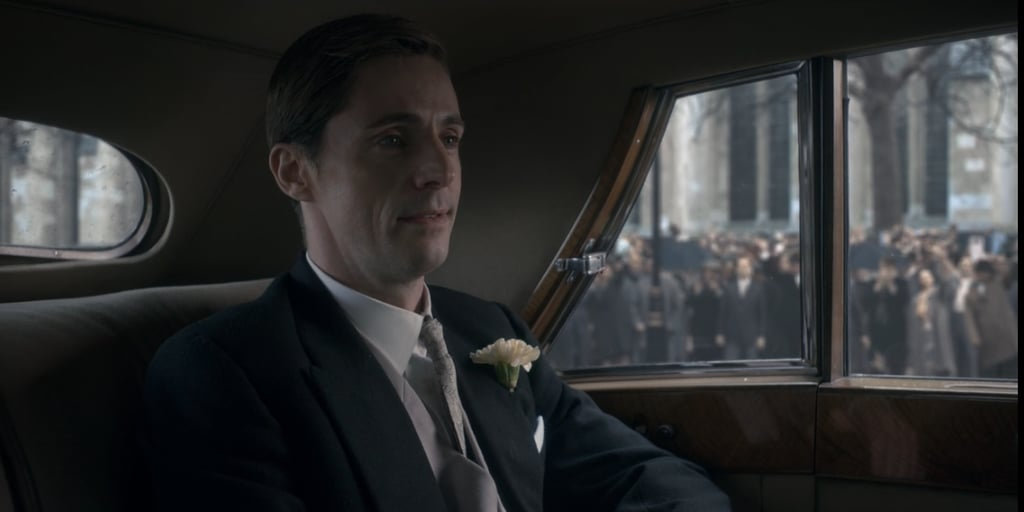 Tony (Matthew Goode) in the car with his mother on the way to Westminster Abbey.