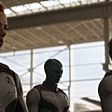 Two things to note, though: First, Captain Marvel is noticeably absent in this scene. Where did she go? Does she not stay very long? Considering the Natasha hair indicator, this is a few months after she arrives, so either she left them or she's busy doing other things.  Second, it's highly unlikely this will actually be a scene in the movie. Marvel tends to include scenes that either don't make the cut or don't fit in with the final project. The first trailer showed this exact montage, only without Tony and Nebula, and the Avengers were wearing their usual costumes. So what is the truth, Marvel? Do both scenes exist? Or do neither?