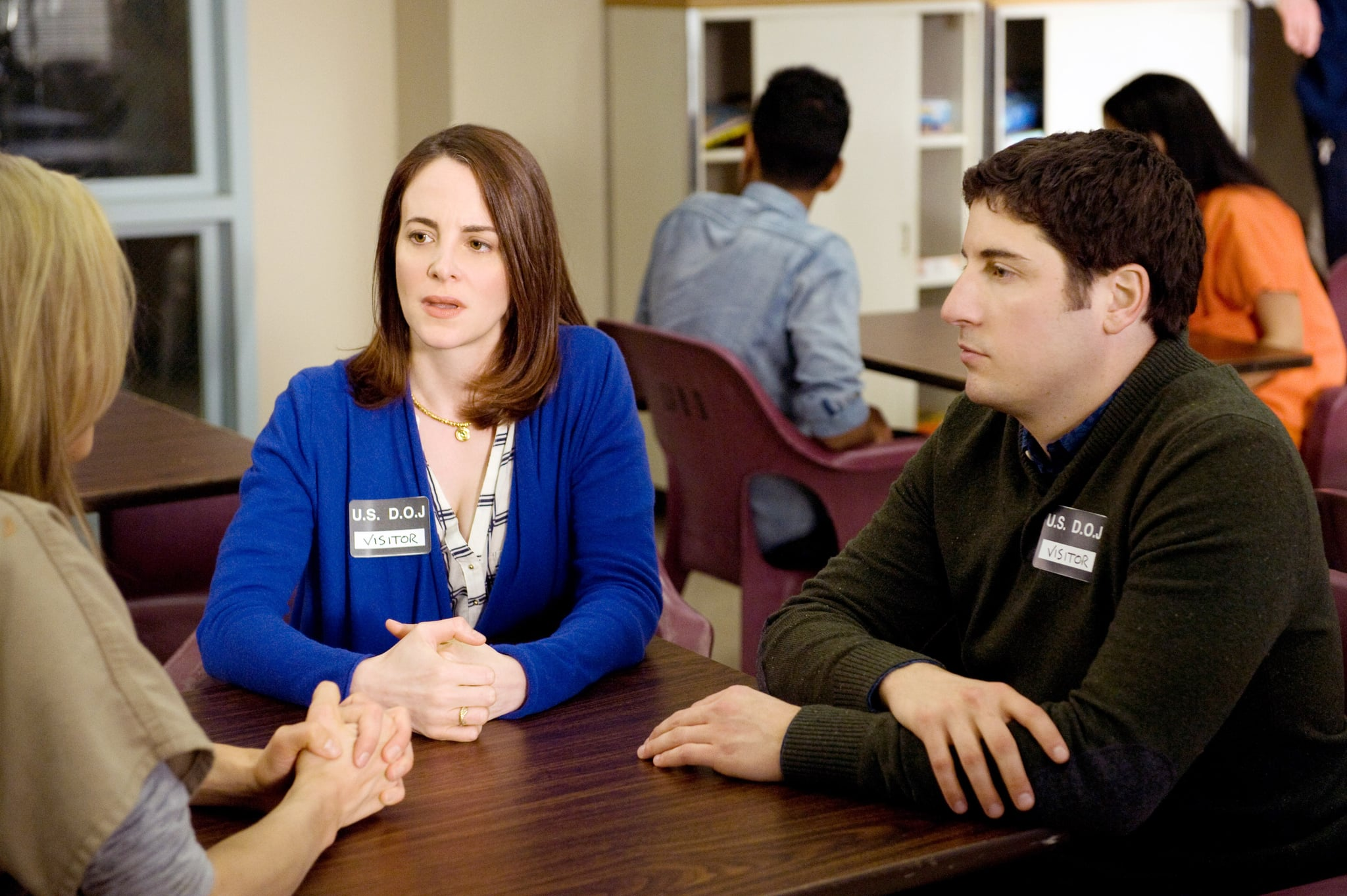 ORANGE IS THE NEW BLACK, (from left): Taylor Schilling (back to camera), Maria Dizzia, Jason Biggs, 'We Have Manners. We're Polite', (Season 2, ep. 213, airs June 6, 2014). photo: JoJo Whilden / Netflix / courtesy Everett Collection