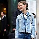 Level up a head-to-toe denim look with a chambray shirt and cute neck scarf.