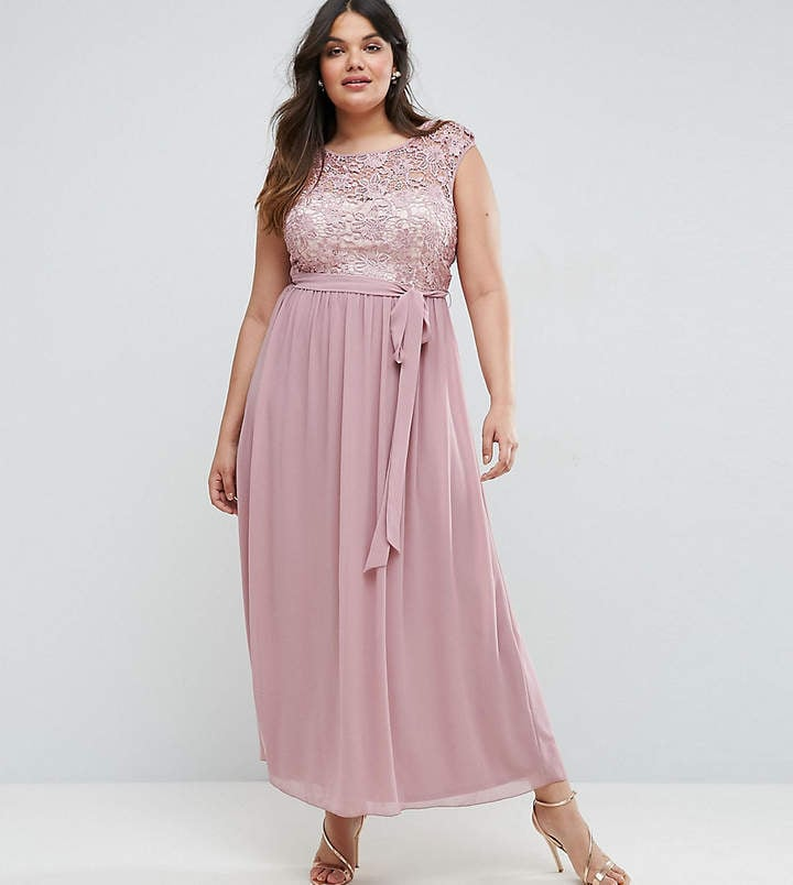Little Mistress Plus Lace Bodice Maxi Dress With Tulle Skirt