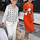 Katie Holmes went out with mom Kathleen Holmes.