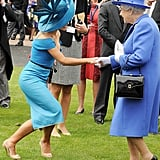 Katherine Jenkins shook hands with the queen at the Diamond Jubilee Derby.
