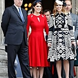 In June 2016, Beatrice and Eugenie joined the rest of the royal family to celebrate the queen's 90th birthday. For the special occasion, Eugenie stood out in a fiery red dress with cutouts, while Beatrice opted for a black-and-white Burberry coat dress.