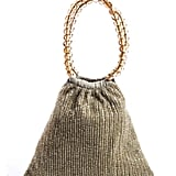 Moyna Beige Beaded Detail 2 Top Handle Small Mini Open Satchel Handbag ($39)