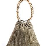 Moyna Beige Beaded Detail 2 Top Handle Small Mini Open Satchel Handbag ($39)