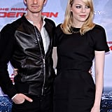 Andrew Garfield and Emma Stone posed together at the Berlin photocall for The Amazing Spider-Man.