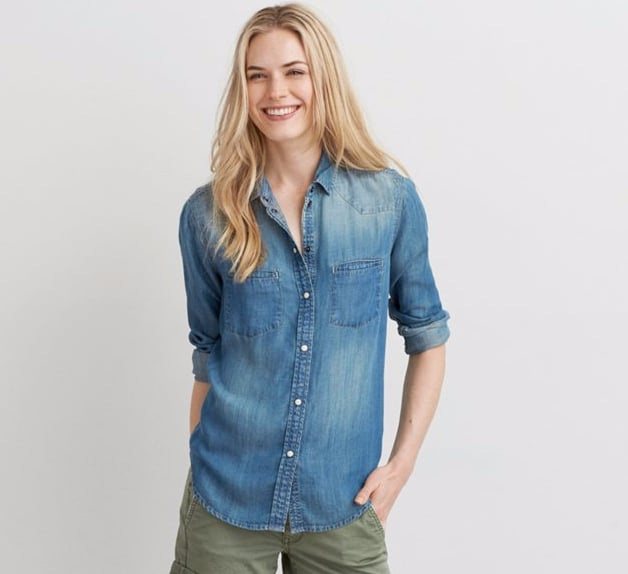 American Eagle Outfitters Western Denim Button Down Shirt ($45)