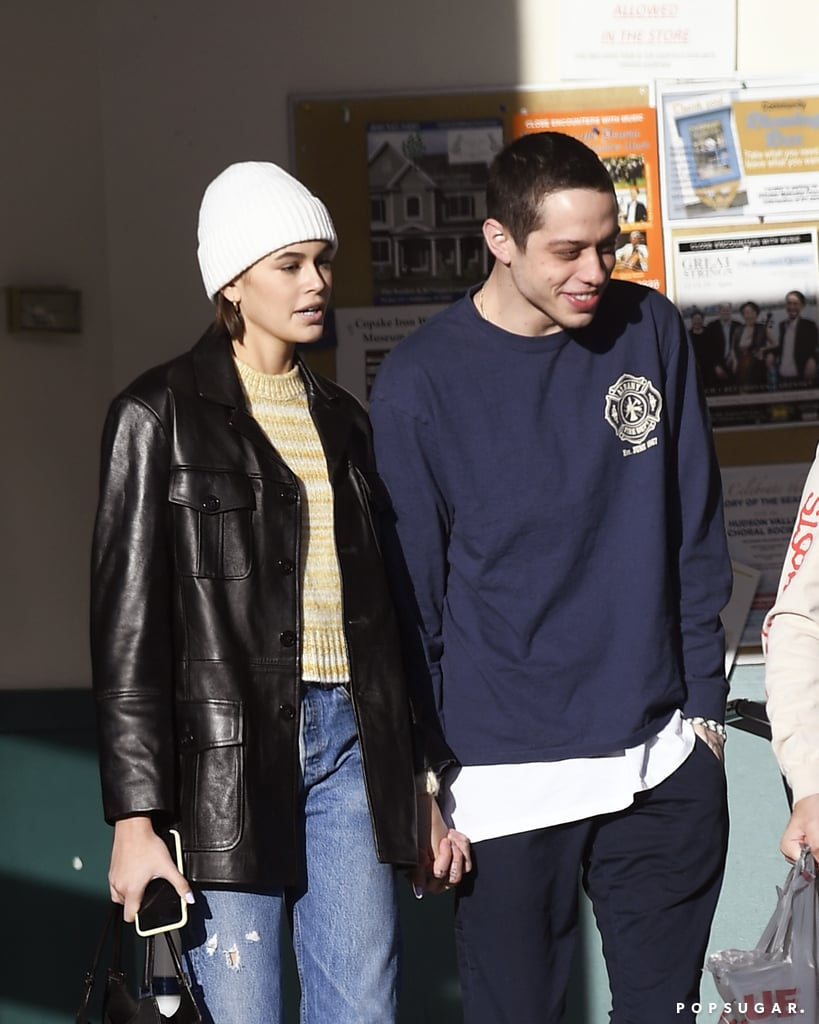 Kaia Gerber and Pete Davidson are dating, did you hear? The new couple were spotted holding hands during an outing in upstate New York on Wednesday, looking cool and casual and staying side by side while leaving a supermarket. The 18-year-old model and 25-year-old Saturday Night Live star were first rumored to be a thing in late October after they were seen on an NYC lunch date; Pete was also spotted leaving Kaia's apartment later that day. Most recently, on Nov. 4, Kaia and Pete had dinner together in Malibu, but their latest sweet PDA pretty much seals it. Lucky for Pete, Kaia likely won't be writing any songs about him. Scroll through to see Kaia and Pete making things official.       Related:                                                                                                           6 Ladies Who Couldn't Resist Pete Davidson's Charm (and Maybe Also BDE?)