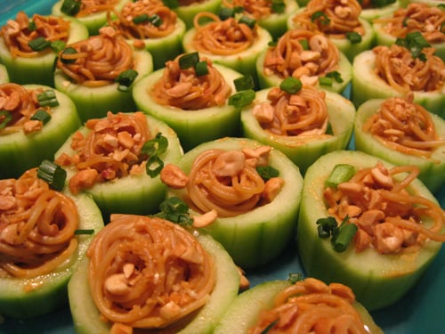 Spicy Peanut Noodles in Cucumber Cups