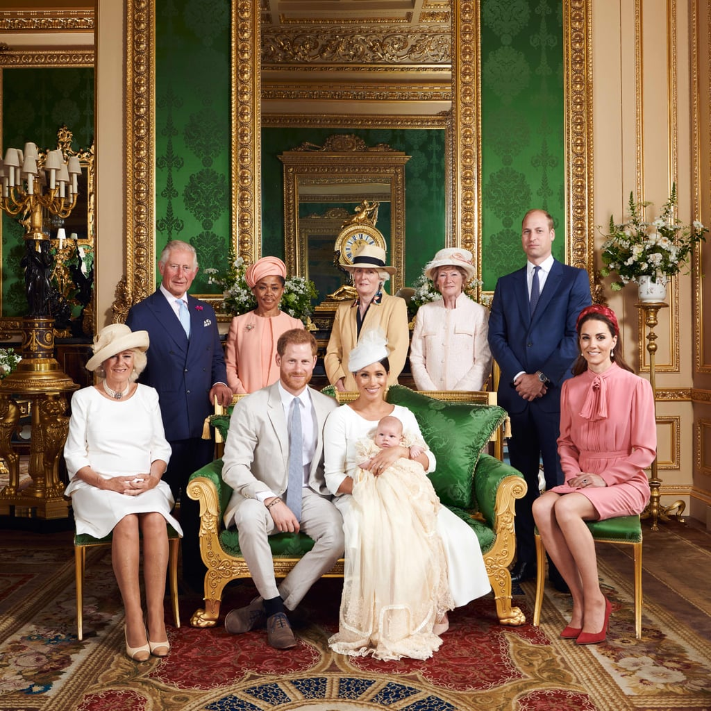 """On a sunny Saturday in Windsor, members of the British royal family and close friends of Prince Harry and Meghan Markle gathered for the christening of Archie Mountbatten-Windsor, two months after his birth. The Duke and Duchess of Sussex decided to keep the ceremony private, choosing the tiny Private Chapel at Windsor Castle, which is worlds away from the grandeur of the castle's more famous St. George's Chapel, where the couple married in 2018. However, they did release some official photos on Instagram giving us our first glimpse of this important royal occasion. In one picture, Harry and Meghan — who stunned in a white Dior outfit — pose with members of the royal family, including Prince William, Kate Middleton, Prince Charles, Camilla Parker Bowles, and Princess Diana's sisters, Sarah McCorquodale and Jane Fellowes. Meghan's mother, Doria Ragland, also attended her grandson's special day. The second black-and-white snapshot shows Meghan and Harry cuddling up with Archie. """"Their Royal Highnesses feel fortunate to have enjoyed this day with family and the godparents of Archie,"""" the caption reads. """"The Duke and Duchess of Sussex are so happy to share the joy of this day with members of the public who have been incredibly supportive since the birth of their son. They thank you for your kindness in welcoming their first born and celebrating this special moment."""" Harry and Meghan have also decided not to officially release the names of Archie's godparents, though this hasn't stopped plenty of speculation as to who they may be. The focus is on close friends of the couple, like Meghan's BFF Jessica Mulroney, Harry's longtime friend Charlie Van Straubenzee, and Meghan's friends Genevieve Hillis and Lindsay Roth, who accompanied the duchess to Wimbledon just a few days ago. Archie has become the latest royal baby to wear the replica of the historic royal christening gown that Queen Elizabeth II commissioned in 2008, when the original from 1841 was deemed too fragile to w"""