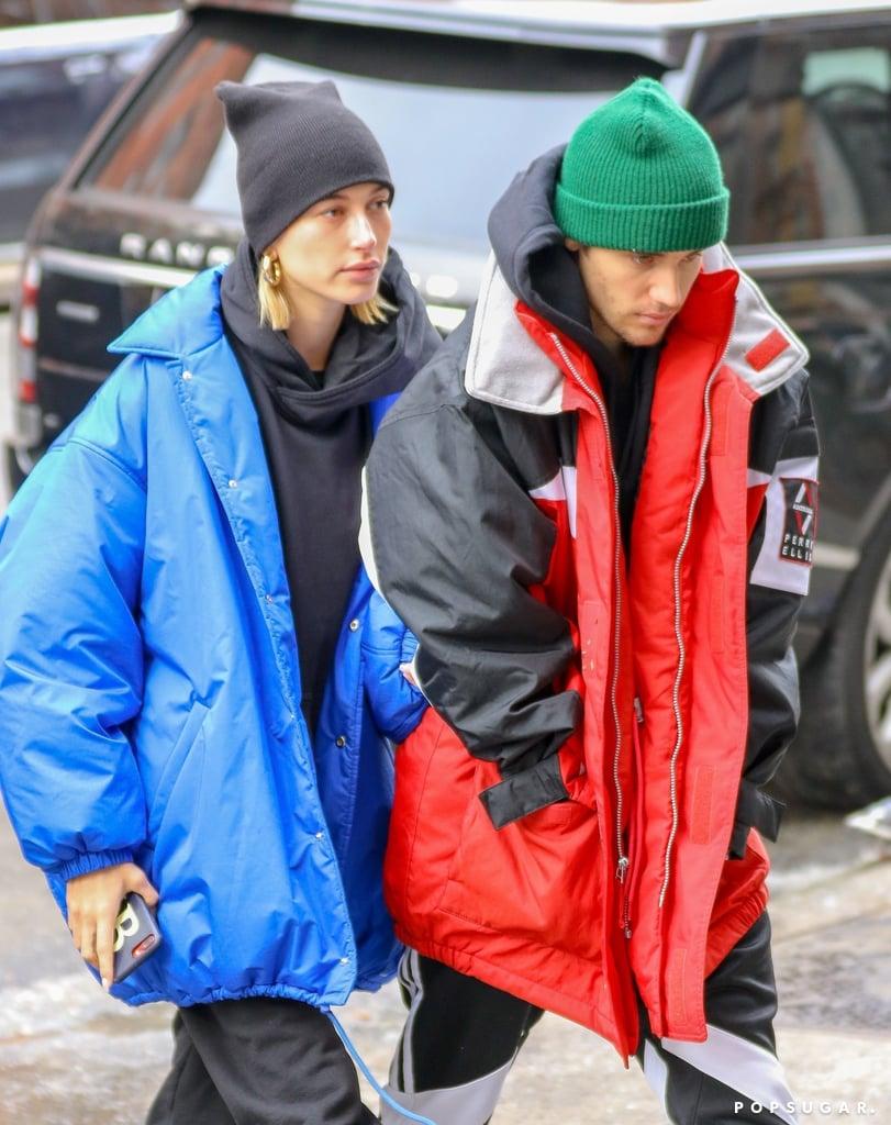 d8b583fc42ada Hailey in the Exact Balenciaga Coat With Justin in NYC
