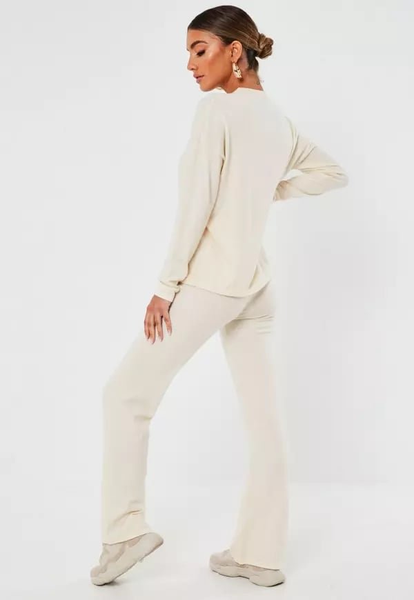 Cream Knit Oversized Top and Trousers Set