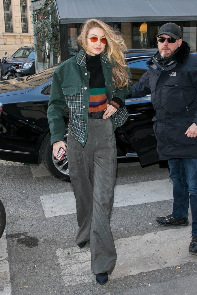 Gigi Hadid's Green Plaid Denim Jacket
