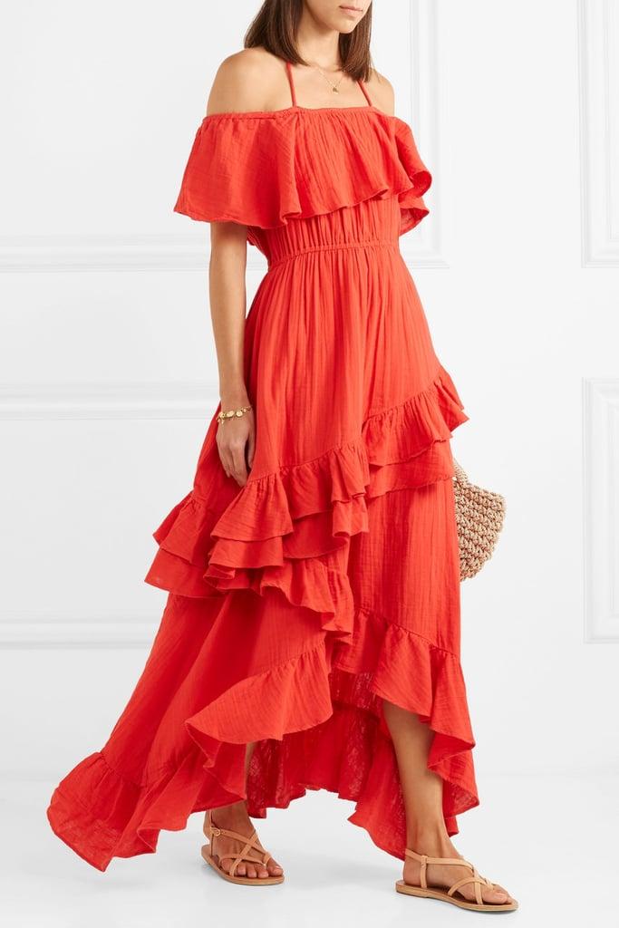 Rhode Resort Salma Off-the-Shoulder Ruffled Cotton-Voile Maxi Dress