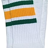 Mid Calf White Tube Socks With Green-Gold Stripes