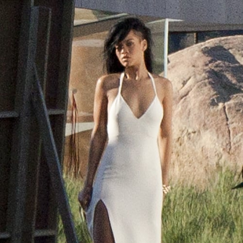 Rihanna White Slit Gown
