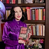 Here, Dita is showing off her collection of vintage and rare books.
