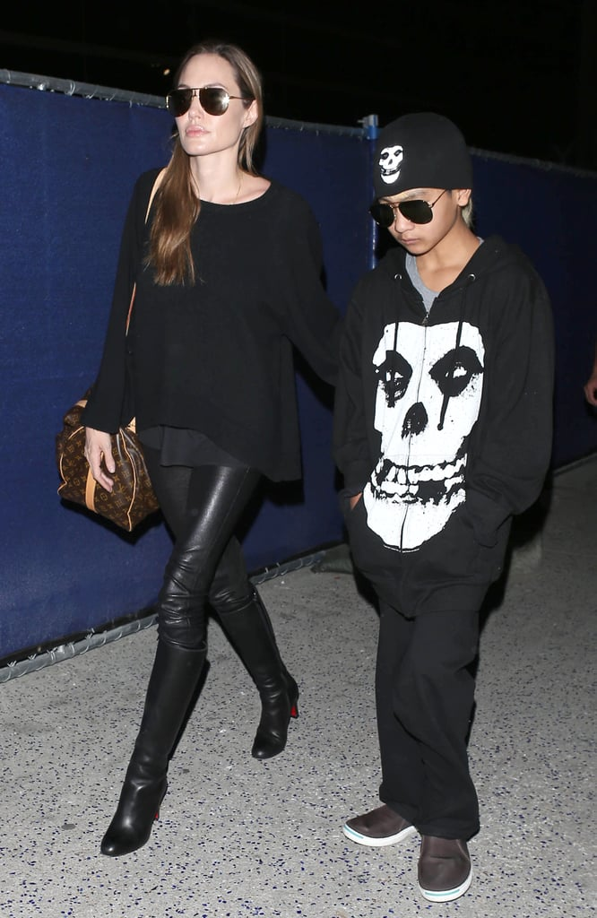 Angelina Jolie and her oldest son, Maddox Jolie-Pitt, landed in LA together.
