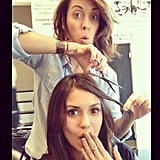 Nina Dobrev got her hair done before the SAG Awards. Source: Instagram user ninadobrevpriv