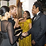 Pictured: Prince Harry, Meghan Markle, Beyoncé, and JAY-Z at The Lion King premiere in London.